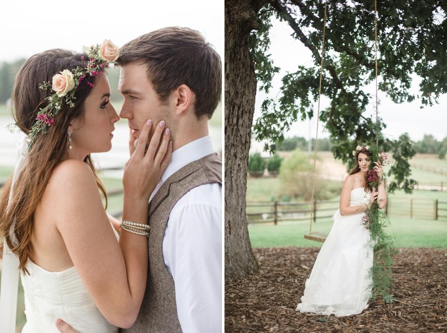bohemian flower crown, romantic bridal photography