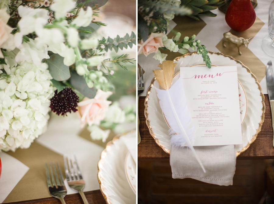 bohemian-inspired centerpiece by Embellished Blooms, vintage bohemian wedding reception inspiration