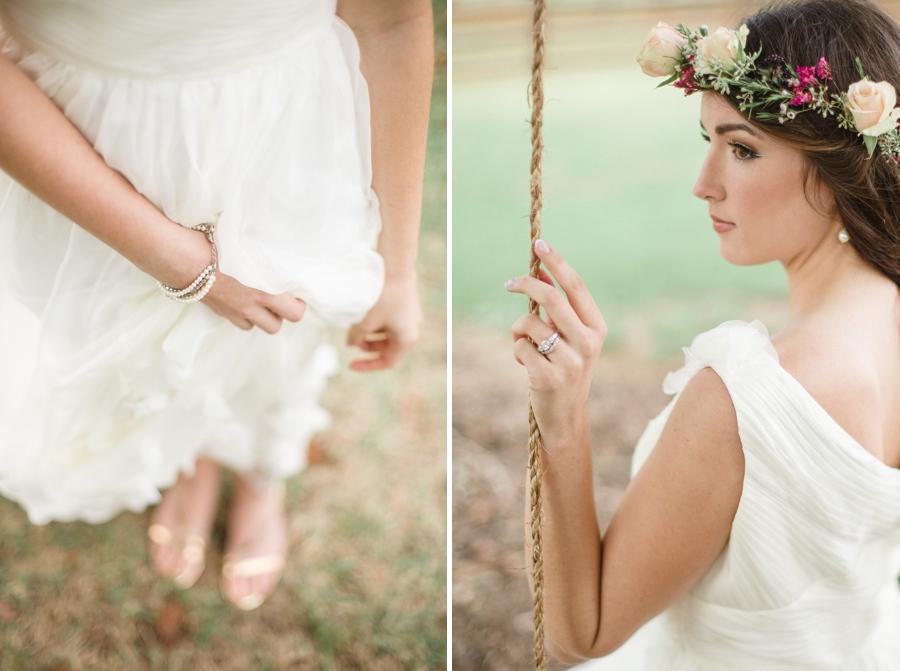 ruche wedding dress, bride with a flower crown