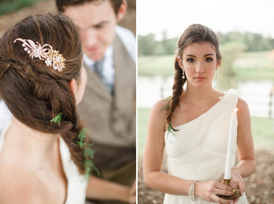 bridal braids, ruche wedding gown, southern wedding photography