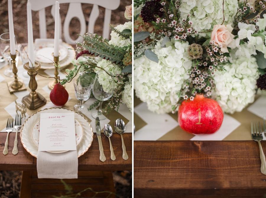 bohemian wedding reception inspiration, pomegranates on wedding reception tables
